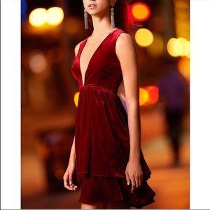 Gianni Bini Judy Red Velvet Ruffle Deep-V Dress